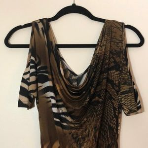Body Central animal print off the shoulder top